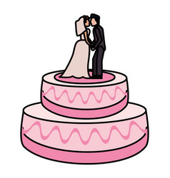 wedding cake couple dessert vector image