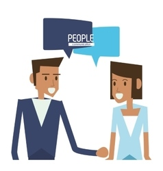 woman and man with bubble icon People design vector image
