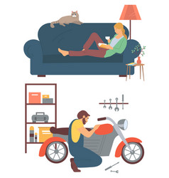 Woman reading book man fixing bike hobset vector