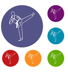 wushu master icons set vector image
