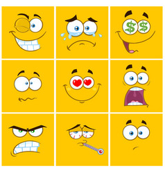 yellow cartoon square emoticons collection -1 vector image