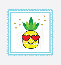 yellow pineapple emoji face with red heart glasses vector image