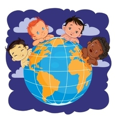Young children of different nationalities located vector