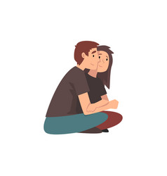 young man and beautiful woman sitting on ground vector image