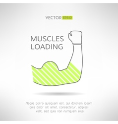 Arm with strong biceps loading muscles idea vector