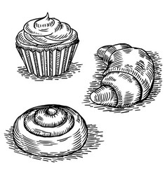 bakery products engraving style vector image vector image