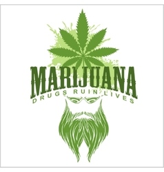Marijuana and hippie - emblem vector image vector image