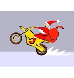 Santa Claus ride motorcycle vector image