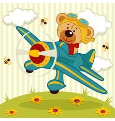 Teddy bear pilot vector