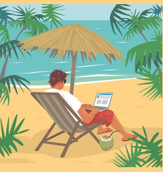 Young man working on laptop on tropical beach vector