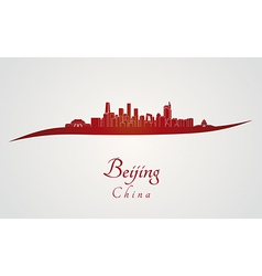 Beijing skyline in red vector image