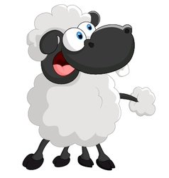 Cartoon cute sheep on white background vector image