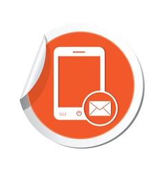 phone mail icon orange sticker vector image vector image