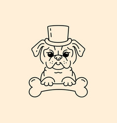 Pug gentleman cartoon pug-dog cute dog in the hat vector