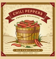 retro chili pepper harvest label with landscape vector image