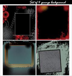 set of 4 grunge background vector image vector image