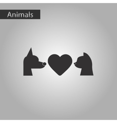 black and white style icon cat dog heart vector image vector image