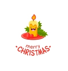 Candle Cheerful Christmas card vector image