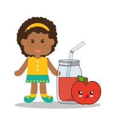 cute girl jar juice apple kawaii vector image