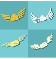 Mail with wings icons on blue background vector image vector image