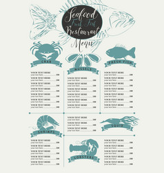 menu with price list for a seafood restaurant vector image vector image