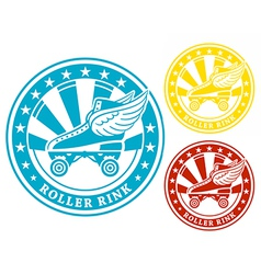 Roller rink label vector image vector image