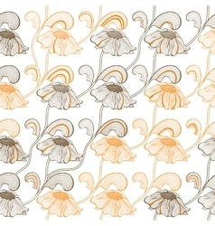 Seamless pattern with retro flowers on stems in vector image vector image