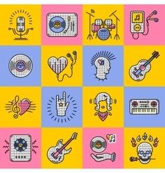 Set music icons line art Rock jazz punk vector image