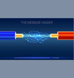 electric cable with sparks horizontal design for vector image vector image
