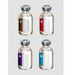 Four packaging designs for liquid medicine vector