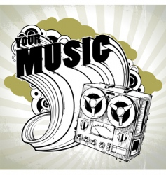 hand drawn musical poster vector image vector image