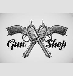 Hand drawn vintage guns crossed pistols vector