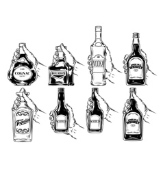 set of bottles for alcohol vector image vector image