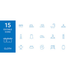 15 cloth icons vector