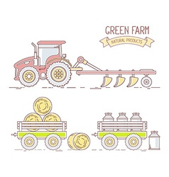 Agribusiness of collection of farm tractor w vector