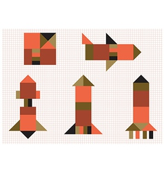 Aircraft rocket geometric shapes vector