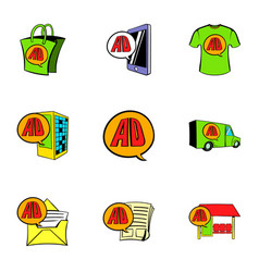 ali express store icons set cartoon style vector image vector image