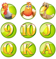 Animals and letters on round badges vector