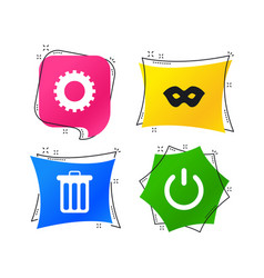 Anonymous mask and gear signs recycle bin icon vector