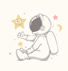 Baby astronaut plays with stars vector