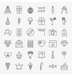 Birthday Line Icons Set vector