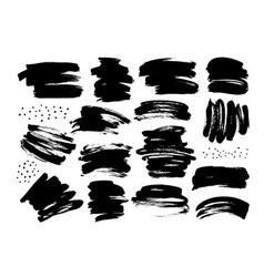 black dry brushstrokes hand drawn set vector image
