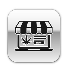 black laptop and medical marijuana or cannabis vector image