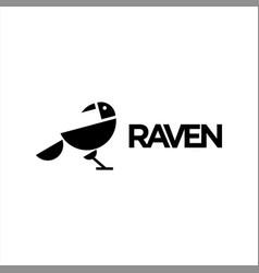 Black raven logo simple abstract bird vector