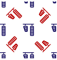 blue and red car gas and brake pedals icon vector image