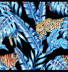 blue banana leaves tiger leopard seamless black vector image