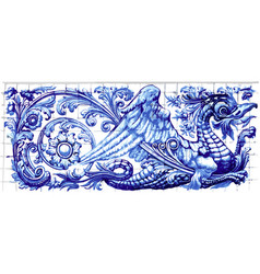 blue dragon azulejo ceramic tile magnet souvenir vector image