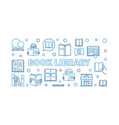 book library outline horizontal banner or vector image