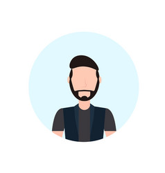 Brunette man avatar isolated faceless beard male vector