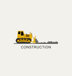 Bulldozer leveled the road vector
